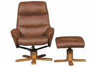 GFA - Amalfi Swivel Recliner & Footstool Soft Faux Suede - Tan