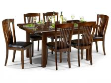 Julian Bowen - Canterbury Mahogany Extending Dining Table & 6 Chairs