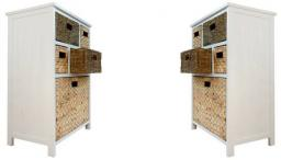 Statement Furniture - Tetbury White Storage Cabinet & 8 Woven Baskets