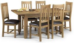 Julian Bowen - Astoria Oak Extending Dining Table & 6 Chairs