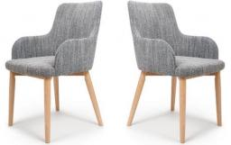 Shankar - Sidcup Tweed Grey Dining Chairs - Set of 6