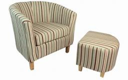 Shankar - Tub Stripe Velvet Chair & Footstool
