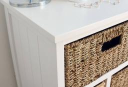 Statement Furniture - Tetbury White Storage Cabinet & 5 Woven Baskets