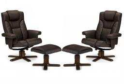 Julian Bowen - Malmo Swivel Recliner & Footstool - Set of 2