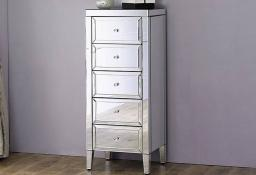 Birlea Furniture - Valencia Mirrored 5 Drawer Narrow Chest