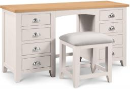 Julian Bowen - Richmond Grey Twin Pedestal Dressing Table & Stool