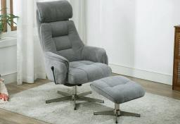 GFA - Auckland Fabric Rocker Swivel Recliner & Footstool