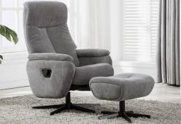 GFA - Santorini Fabric Swivel Recliner & Footstool
