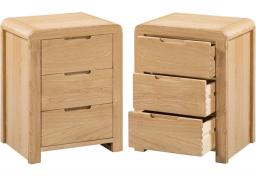 Julian Bowen - Curve Oak 3 Drawer Bedsides - Set of 2