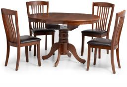 Julian Bowen - Canterbury Round Mahogany Extending Dining Table & 6 Chairs