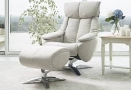GFA - Alpha Fabric Swivel Recliner & Footstool