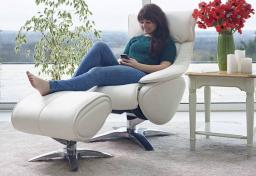 GFA - Alpha Leather Swivel Recliner & Footstool