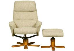 GFA - Amalfi Fabric Swivel Recliner & Footstool