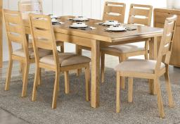 Julian Bowen - Curve Oak Extending Dining Table & 6 Chairs