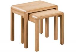 Julian Bowen - Curve Oak Nest of Tables - Set of 2