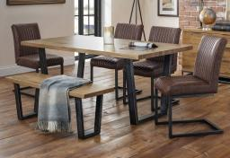 Julian Bowen - Brooklyn Oak Dining Table with 4 Brooklyn Chairs & Oak Bench