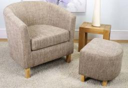 Shankar - Tub Tweed Oatmeal Chair & Footstool