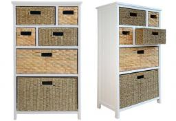 Statement Furniture - Tetbury White Storage Cabinet & 6 Woven Baskets