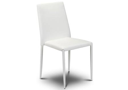 Julian Bowen - Jazz Stacking Chairs - Set of 2: White Faux Leather