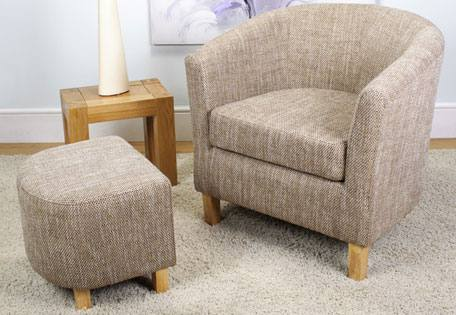 Shankar - Tub Chair & Footstool - Light Wood Legs - Tweed Style ...