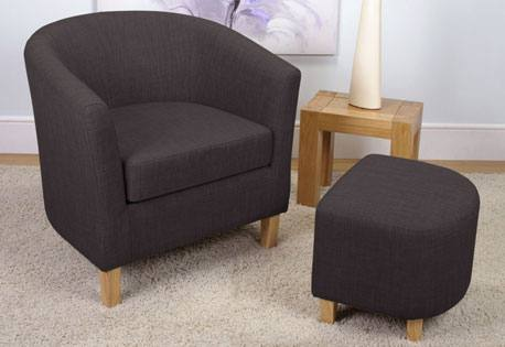 Shankar - Tub Linen Fabric Chair & Footstool Product Image