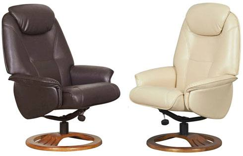 Contoured Backs. GFA - Oslo Swivel Recliner ...  sc 1 st  Sofa and Home & GFA - Oslo Leather Fully Adjustable Swivel Recliner Chair u0026 Stool ... islam-shia.org
