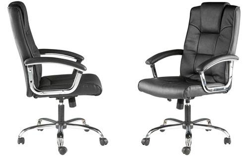 Alphason - Houston Leather Executive Office Chair ... Black Office Chair Back View