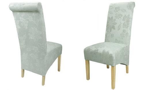 Shankar Krista Dining Chairs Natural Oak Legs Floral