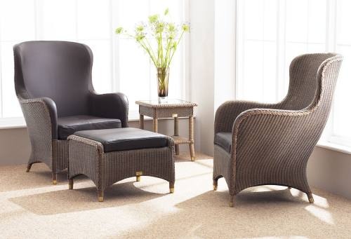 Leeco - Lloyd Loom Mayfair Leather Wing Chair Product Image