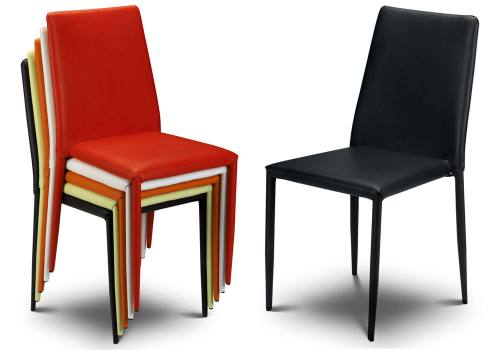 Julian bowen jazz stacking chairs upholstered in faux for Stackable dining room chairs