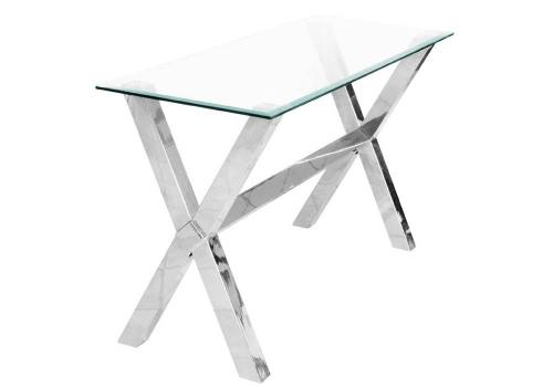 Febland Crosley Glass Console Table Sculptured Chrome Base