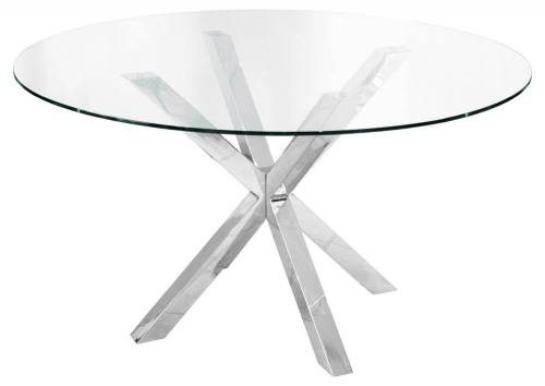 Febland Crossly Circular Glass Dining Table Sculptured