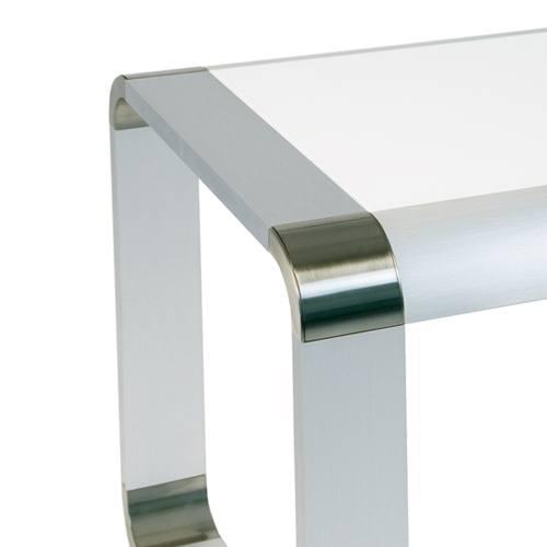 Greenapple Rimini White High Gloss Coffee Table Ga0623: Oasis Brushed Aluminium & Glass