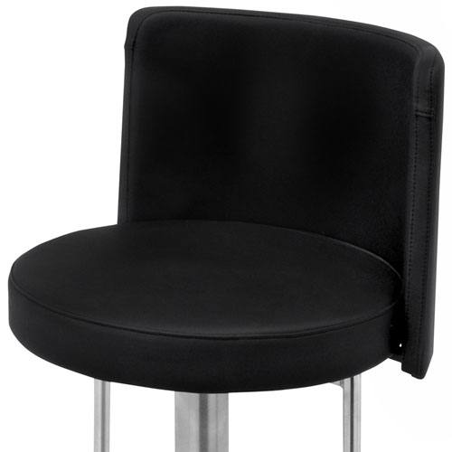 Hnd Monza Bar Stool Brushed Steel Finish Black Or