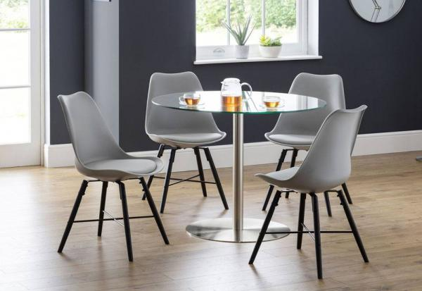 Julian Bowen - Milan Glass Dining Table with 4 Kari Dining Chairs