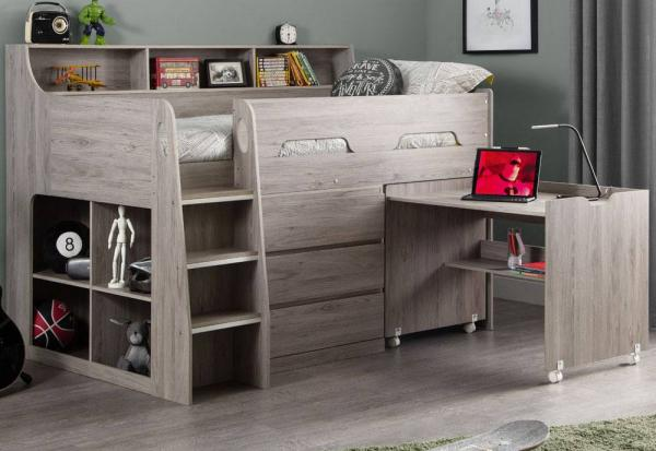 Julian Bowen - Jupiter Grey Oak Mid Sleeper & Mattress - Package