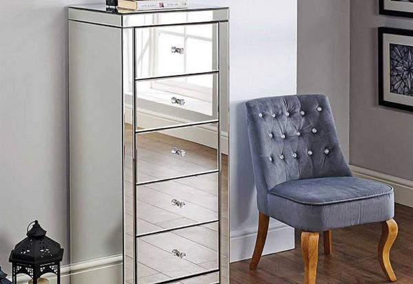 Birlea Furniture - Seville Mirrored 5 Drawer Narrow Chest
