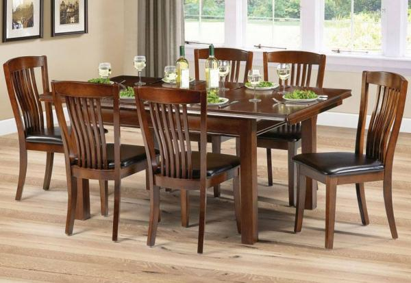 Julian Bowen - Canterbury Mahogany Extending Dining Table & 4 Chairs