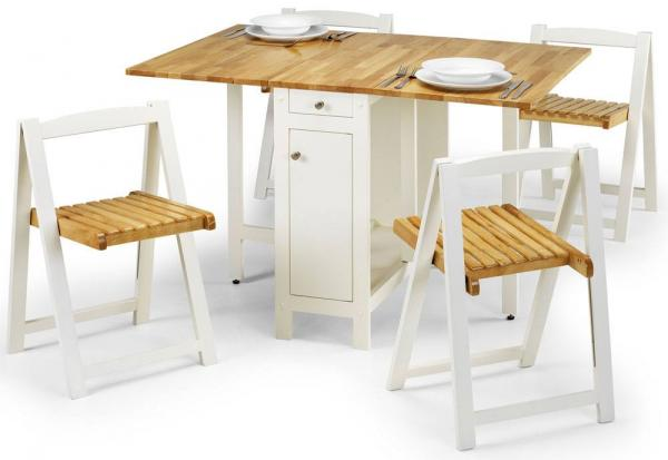 Julian Bowen - Savoy Dining Set - White & Natural Finish