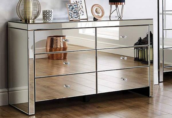 Birlea Furniture - Seville Mirrored 6 Drawer Chest