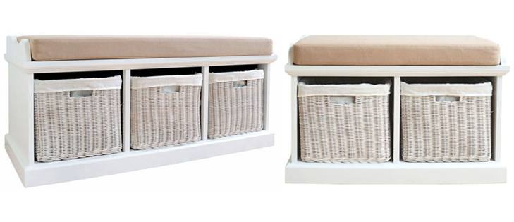 Exceptional Buy A Package. White Painted Finish Loose Seat Cushion Storage Baskets  Large Bench ...