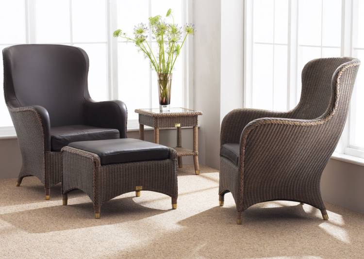 Leeco Lloyd Loom Mayfair Small Wing Chairs Upholstered