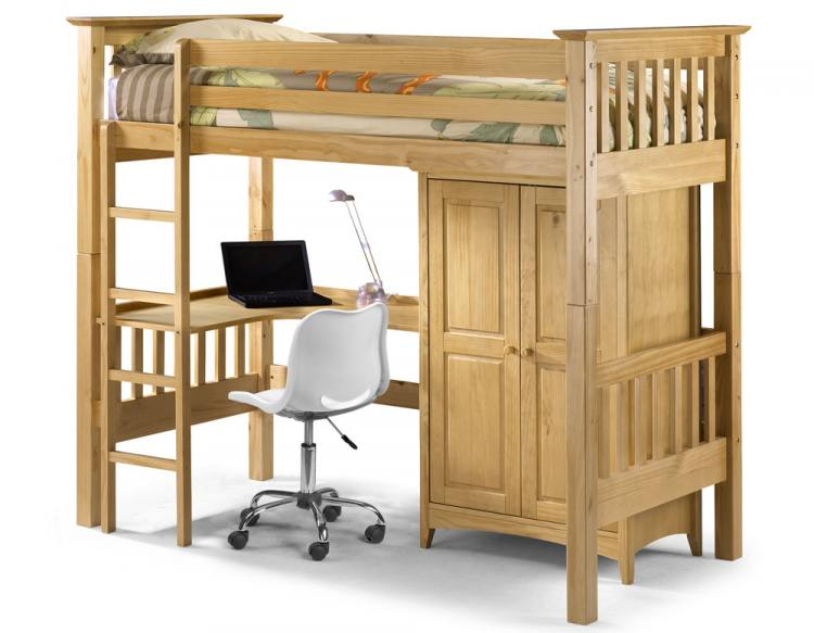 Pine Bunk Bed with Desk 750 x 583
