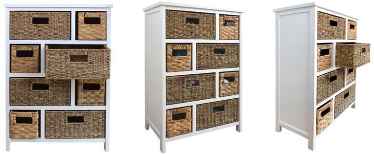 8 Basket Storage - Statement Furniture - Tetbury White Storage Cabinets With 5, 6 Or
