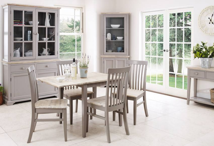 Statement Furniture Florence Dove Grey Matt Painted Washed Acacia Wood Top Cabinets Dining