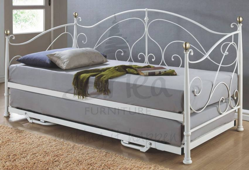 Birlea Furniture Milano Metal Daybed with Underbed Pull out Guest Bed With or Without