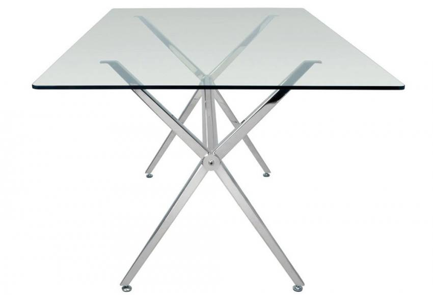 HND - Milano Dining Tables - Brushed Steel Finished Frame - Clear or ...