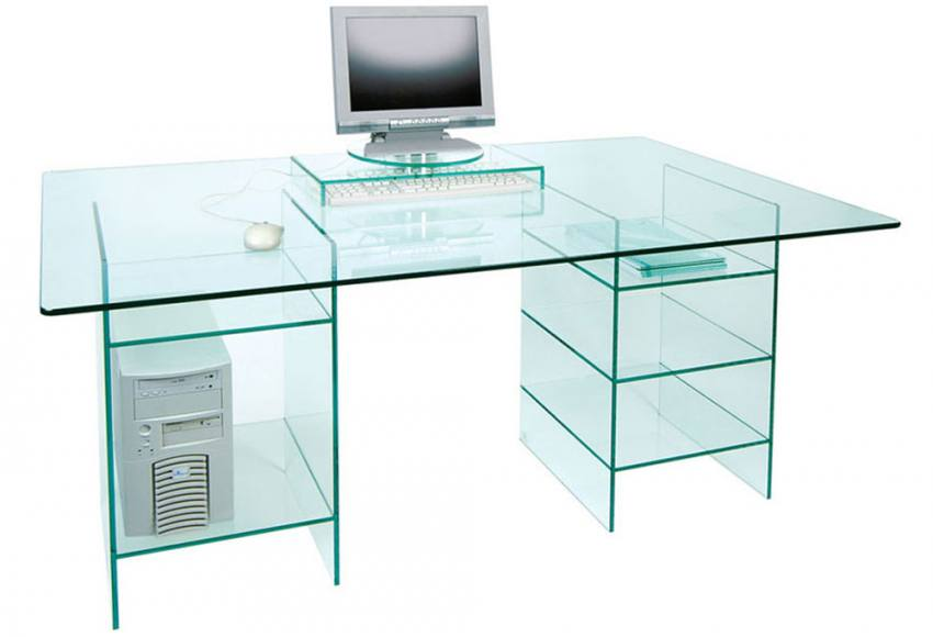 Greenapple Furniture Glass Desk With Shelves Twin