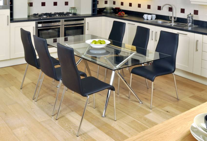 HND Milano Dining Tables Brushed Steel Finished Frame Clear Or Black Gl
