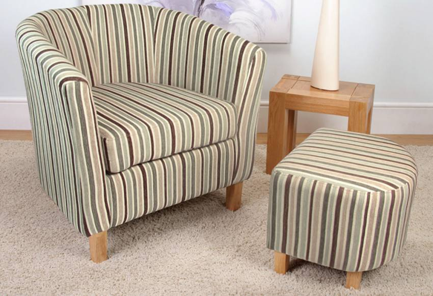 Shankar Tub Chair Amp Footstool Light Wood Legs